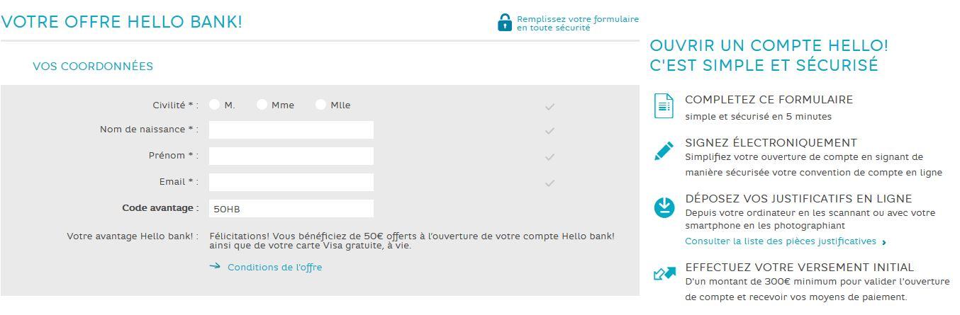 offre ouverture compte banque en ligne