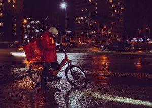 Banque pour coursier à vélo